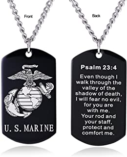 USMC Marine Corps Dog Tag Necklace Jewelry for Men Semper Fidelis Bible Prayer Military Wife Gift-C4