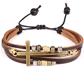 Religious Cross Wrap Bracelets Women Leather Christian Jewelry for Confirmation Gifts, Adjustable