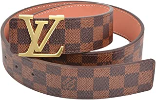 Brown gold fashion leather metal buckle neutral men's and women's belt