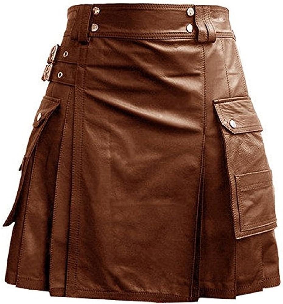 Mens Black OR Brown Leather Gladiator Utility Kilt Flat Front Twin Cargo Pockets (K5T)