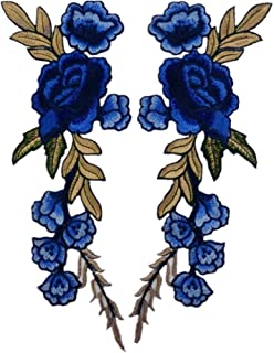 Ximkee 1 Pair Rose Sew Iron on Applique Embroidered Patches-Royalblue