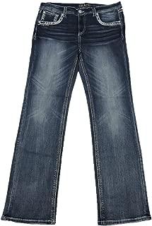 Grace L.A. Idol Women Plus Bootcut Jeans Mid Rise Tribal Princess Flap Stretch