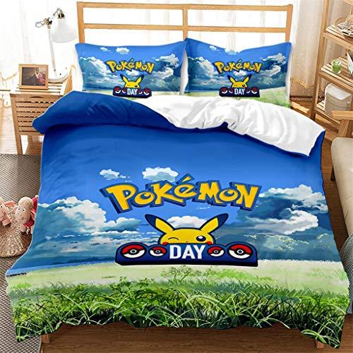Funda nordica Cama,Pokémon Tema Funda edredonFunda nórdica Pikachu 135X200cm,Cómoda Funda nórdica de Microfibra para niños