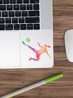 Soccer Girl Player Watercolor - Cool Womens Soccer Sticker T-Shirt Pillow Sticker Vinyl Decal for Cars, Trucks, Water Bottle, Fridge, Laptops (Longest Side 4