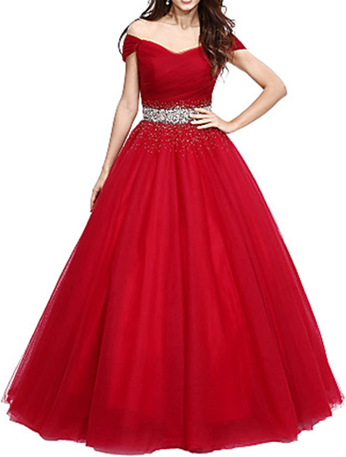 Udresses Womens Off Shoulder Prom Dress 2018 Long Pageant Ball Gown Formal VN40