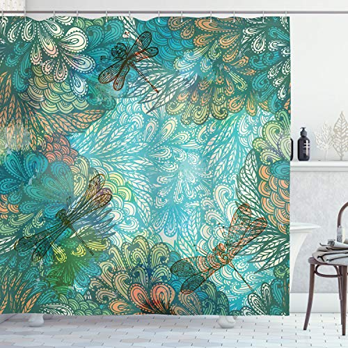 ABAKUHAUS Libélula Cortina de Baño, Fantasía Flores Mezcla, Material Resistente al Agua Durable Estampa Digital, 175 x 200 cm, Turquesa ámbar