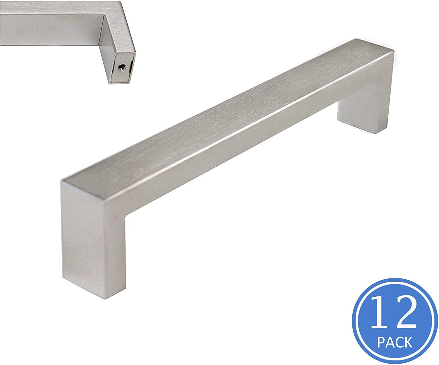 Knobonly Square Kitchen Cupboard Brushed Nickel Handles 160mm 6-1 2 inch Hole Spacing Cabinet Pulls 20mm Wide-12 Pack