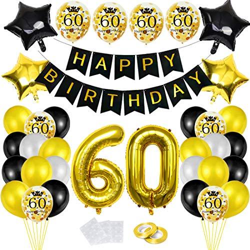 Luftballon 60. Geburtstag Deko Schwarz Gold,60 Geburtstags Dekoration, Happy Birthday Folienballon, Deko 60 Geburtstag Mädchen, Riesen Folienballon Zahl 60, Ballon 60 Deko zum Mädchen Geburtstag