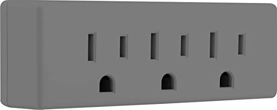 GE Adapter Wall Tap, Grounded Outlets, Indoor Rated, 3 Prong, UL Listed, Grey, 47874, 1 Pack, Gray