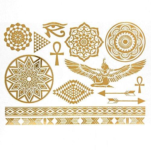 14 Tatouages éphémères métallique Waterproof -Tatoo temporaire Or - Bijou de Peau Egypte Isis