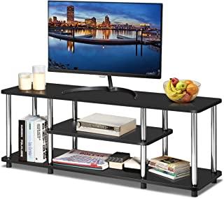 Tangkula 3-Tier TV Stand, LED and Flat Panel TV Entertainment TV Stand with Stainless Steel Frame, EPA Listed Universal TV Stand Suits for LCD, Simple Appearance and Compact Design (Black)