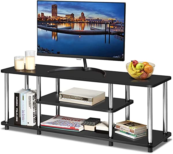 Tangkula 3 Tier TV Stand LED And Flat Panel TV Entertainment TV Stand With Stainless Steel Frame EPA Listed Universal TV Stand Suits For LCD Simple Appearance And Compact Design Black