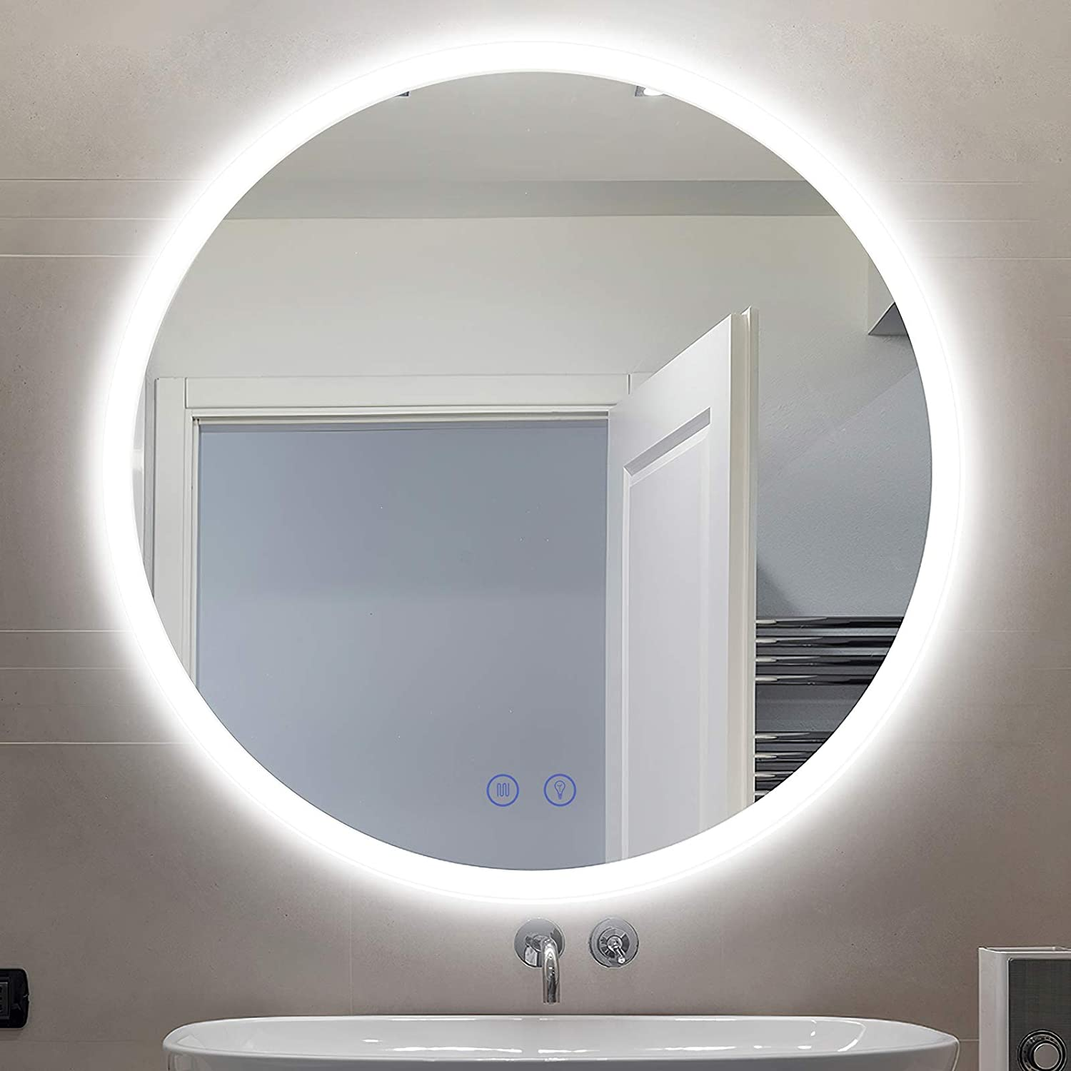 Amazon Com Citymoda 32 Inch Round Led Lighted Bathroom Mirror Large Circular Wall Mount Backlit Vanity Mirror With Led Lights Touch Dimmer Switch Anti Fog 3 Led Color Cct Frameless