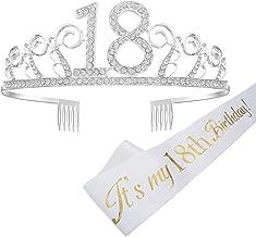 Feliz Cumpleaños 18TH, 18tth Plata Cristal Tiara Corona de Cumpleaños, Banda de Satén Brillante It's My 18th Birthday (Es mi Cumpleaños Número 18), Regalo de 18 Cumpleaños