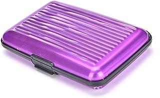 Waterproof Business ID Credit Card Wallet Holder Aluminum Metal Pocket Case Fadg Purple