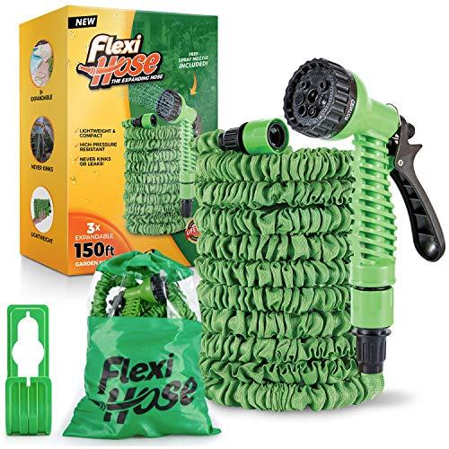 Flexi Hose 150 Foot Expandable Garden Hose with 7 Function Spray Nozzle -...