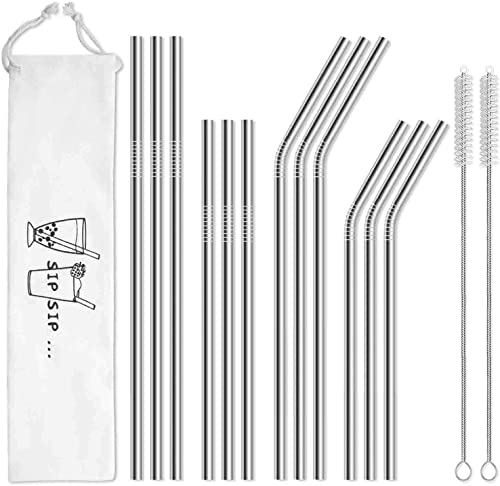 Hiware 12-Pack Reusable Stainless Steel Metal Straws with Case - Long Drinking Straws for 30 oz and 20 oz Tumblers Ye...