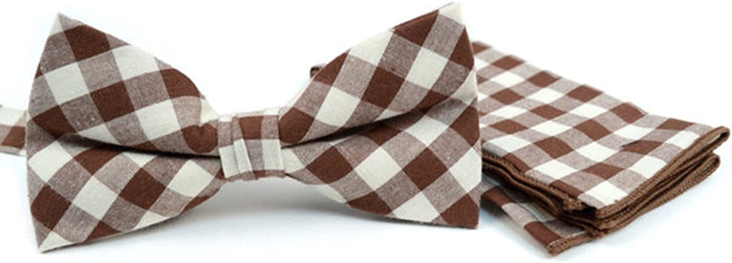 Men's Brown Plaid Cotton Bow tie and Matching Pocket Square Set