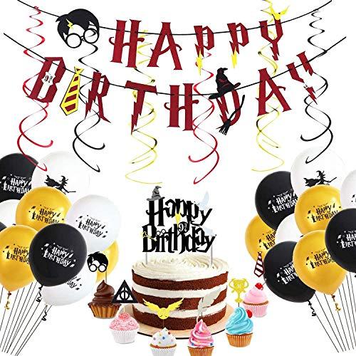 Wizard Birthday Party Supplies - Bannière pour Joyeux Anniversaire, gobelets Cupcake inspirés par Les magiciens, Ballons et tourbillons Suspendus, décorations de la soirée à thème HP. (Multicolore -2)