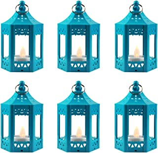 Vela Lanterns Mini Candle Lantern with Flickering LED Tea Light Candle, Batteries Included, Blue, Set of 6