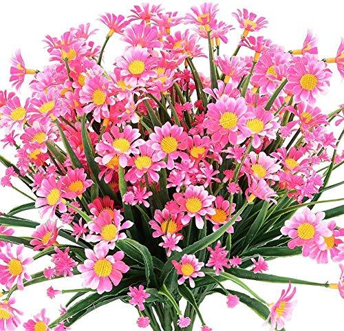 Hzaming - Fiori artificiali di margherita per esterni, 4 mazzetti, piante finte di plastica, per vasi per davanzali, da appendere, per interni ed esterni, rosa, 4 pezzi