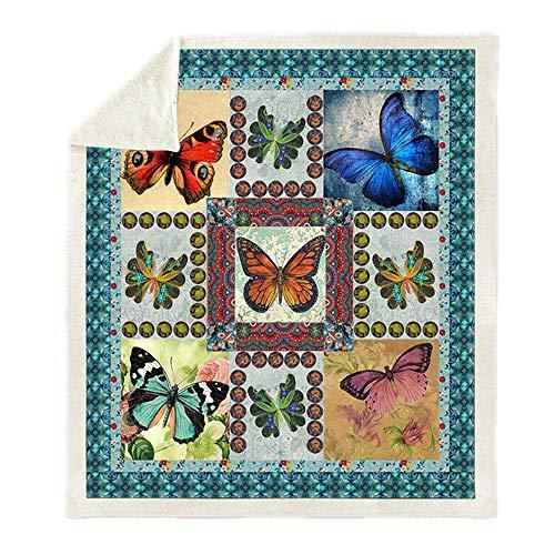 LIFUQING Butterfly Lover Fleece Blanket Sofa Blanket Bedding Blanket-120x150cm
