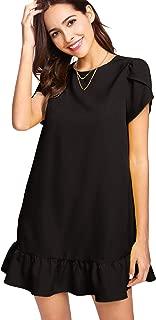 Verdusa Women's Round Neck Petal Short Sleeve Ruffle Hem Tunic Dress