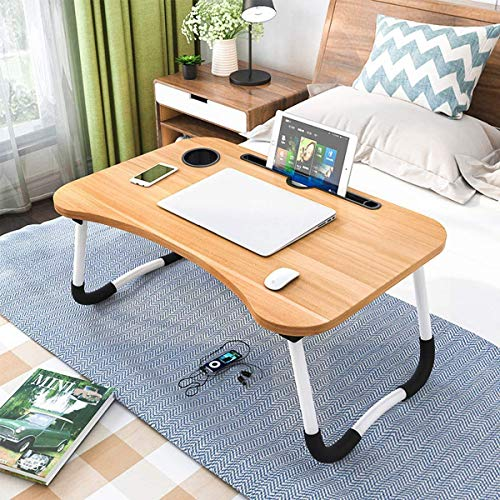 MN Enterprise Multipurpose Foldable Laptop Table with Cup Holder, Study Table, Bed Table, Breakfast Table, Foldable and Portable/Ergonomic & Rounded Edges/Non-Slip Legs (Wooden)