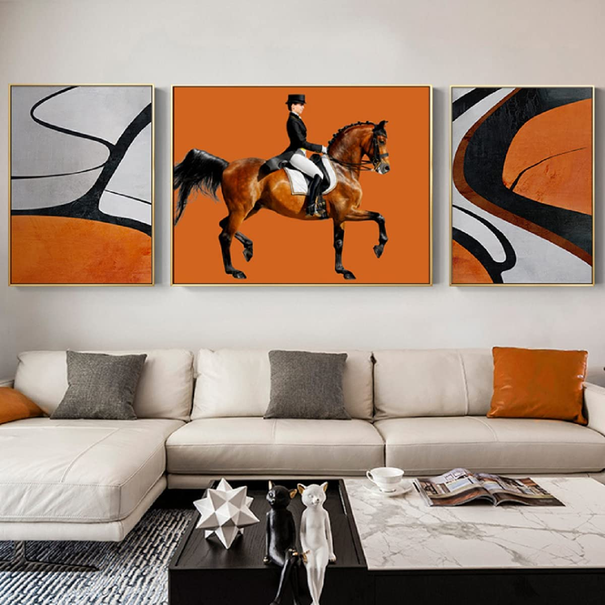 XIAOMA Cuadro de lienzo de estilo europeo ligero y lujoso con combinación de caballos, telón de fondo para sala de estar (50 x 70 x 2 + 90 x 70 cm)