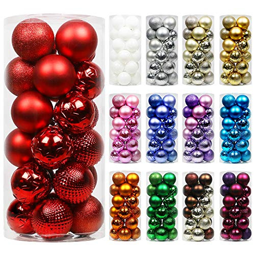 Super Holiday 24ct Christmas Ball Ornaments, 3.15' Small Shatterproof Christmas Tree Decorations, Perfect Hanging Ball for Holiday Wedding Party Decoration (Red)