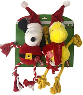 Peanuts Holiday Pet Toys Snoopy Woodstock Plush Rope Squeak Dog Toy 2PC