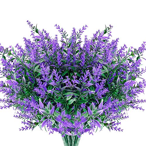 Artificial Flowers Lavender 8 Bundles,Fake Flowers Lavender, Silk Flowers Artificial for Decoration,Wedding,Garden,Patio,Purple