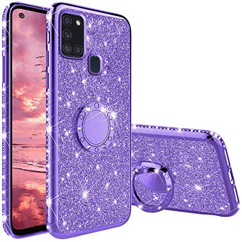 TVVT Glitter Crystal Funda para Samsung Galaxy A21S, Glitter Rhinestone Bling Carcasa Soporte Magnético de 360 Grados Ultrafino Suave Silicona Lujo Brillante Rhinestone - Morado