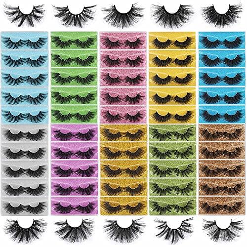 Mink Lashes Wholesale Fluffy 50 Pairs 25mm Eyelashes Pack 8D Volume Faux Thick Long Dramatic Fake Lashes HeyAlice Reusable False Eyelash Bulk