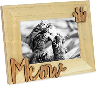 "Isaac Jacobs Natural Wood Sentiments Cat ""Meow"" Picture Frame, 4x6 inch, Photo Gift for Pet Cat, Kitten, Display on Tabletop, Desk (Natural)"
