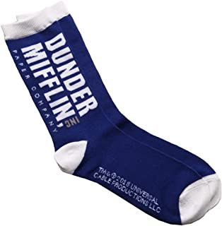 The Office Dunder Mifflin Logo Adult Crew Socks (Navy)
