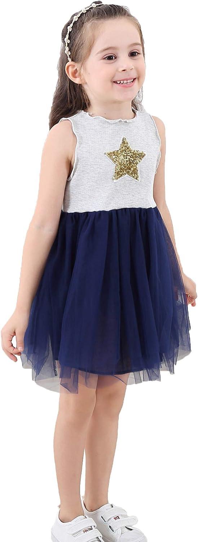 YaCowen Girls Tulle Princess Dress - Star Sequin Birthday Dress 2 to 11 Years
