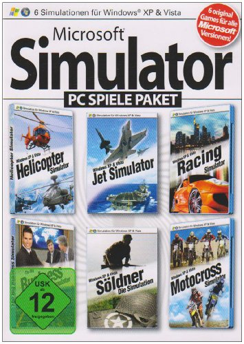 Microsoft Simulator PC Spiele Paket (Helicopter Simulator / Jet Simulator / Racing Simulator / Motocross Simulator / Business Simulator / Söldner - Die Simulation)