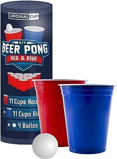 Original Beer Pong Kit Officiel   Pack Gobelets + Balles de Beer Pong   Qualité Premium   22 Cups (11 Red & 11 Blue)   4 B...