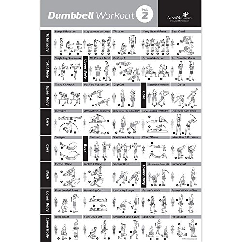 DUMBBELL EXERCISE POSTER VOL. 2 LAMINATED - Workout Strength Training Chart - Build Muscle Tone & Tighten - Home Gym Weight Lifting Routine - Body Building Guide w/ Free Weights & Resistance - 20