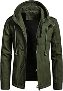 XWLY Men Jacket Hooded Solid Color Regular Fit Jacket Spring and Autumn Windproof Casual Transitional Jacket Motorcycle Ja...