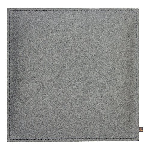 Coussin de siège ebos, 40 x 40 cm ✓ 100 % feutre de laine ✓ Mince et confortable | Coussin de chaise de haute qualité, coussin d'assise avec rembourrage | Joli coussin de chaise, coussin de feutre, coussin décoratif | Coussin d'extérieur robuste (gris clair)