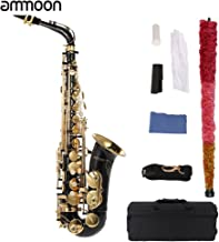 ammoon bE Alto Saxphone Brass Lacquered Gold E Flat Sax 82Z Key Type Woodwind Instrument with Cleaning Brush Cloth Gloves Cork Grease Strap Padded Case