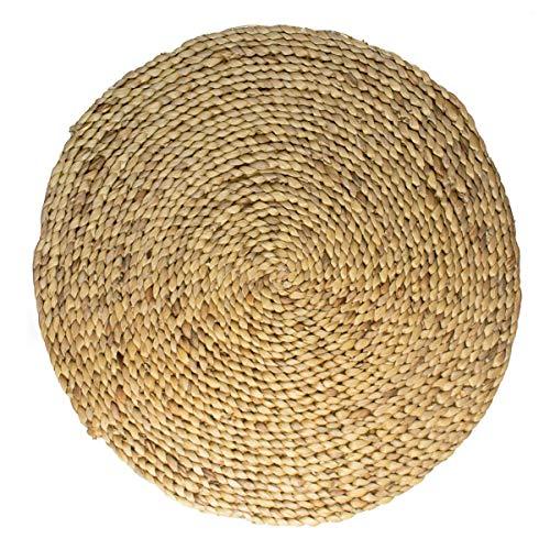 studio TR | Wasserhyazinthe Teppich rund geflochten mit Naturfaser Jute, Handmade, fair, nachhaltig,...