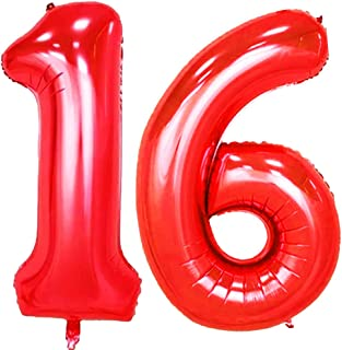 KEYYOOMY 40 in Number 16 Balloons Red for Sweet 16 Birthday Party Decorations