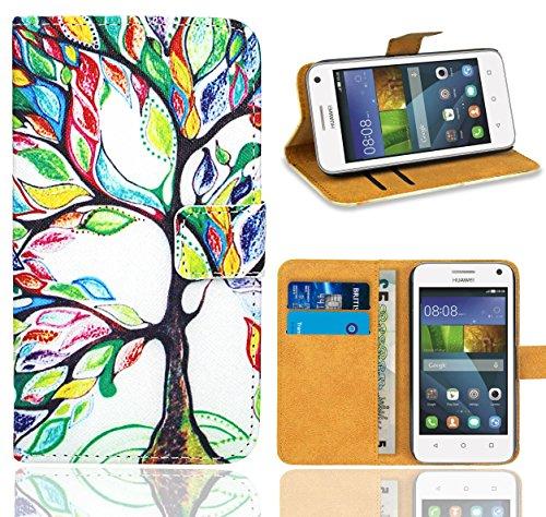FoneExpert® Huawei Y3 Handy Tasche, Wallet Hülle Flip Cover Hüllen Etui Ledertasche Lederhülle Premium Schutzhülle für Huawei Y3 (Pattern 5)