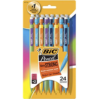 BIC Xtra-Strong Mechanical Pencil, Colorful Barrel, Thick Point (0.9mm), 24-Count, Doesn't Smudge and Erases Cleanly