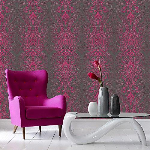 Superfresco Glamour Damast-Tapete mit dezentem Glitzer, Schwarz/Pink