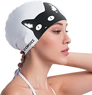 COPOZZ Kids/Adult Swim Caps, Silicone Waterproof Comfy Bathing Cap Swimming Hat for Long and Short Hair