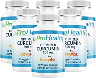 ProHealth Optimized Curcumin Longvida 6-Pack (500 mg, 60 Capsules Each) 285x More Bioavailable   Joint Health   Cognition   Anti-Inflammatory   Antioxidant Supplement